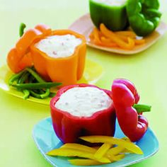 Would be lovely all together in the center of a vege tray with a different dip in each, surrounded by dipping vegetables.