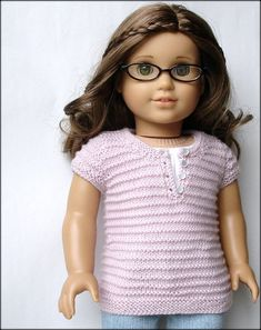 Ella Henley Tee Sweater - PDF Knitting Pattern For 18 inch American Girl dolls. doll clothes pattern