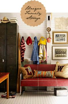 pillows, lockers, vintage sports photos