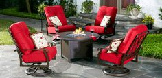 Cortland seating group with round Fire Pit, @woodardfurn
