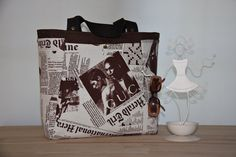 Newspaper  Prints Tote Bag Extra Large Diaper by leyyabags on Etsy, $60.00