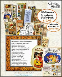 Get Crafty and Save Over 70% on Super Sale Blowout Packs in 8 Fab Themes for $19.95 each and $4.95 priority shipping.  The Halloween Sale Pack is over flowing with great stuff!