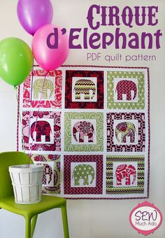 Cirque d'Elephant Quilt elephants, sew, craft, babi quilt, baby quilts, baby quilt patterns, cirqu deleph, eleph quilt, quilting projects