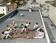women fighting on rooftop
