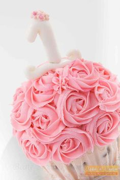 Roses swirls giant cupcake smash cake