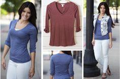 Fall's Best Look - Roll Tab V Neck Shirt #vneck pickyourplum.com