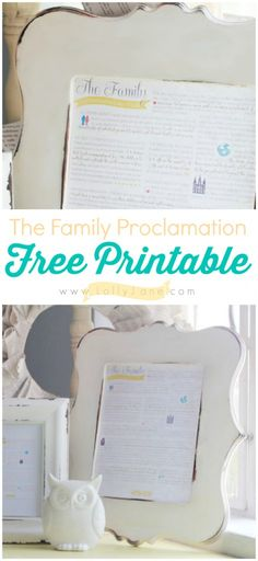 The Family Proclamation, free printable available in multiple colors!    |via @Lauren Davison Jane Jane {lollyjane.com}  #iamamormon #freeprintable #familyproclamation