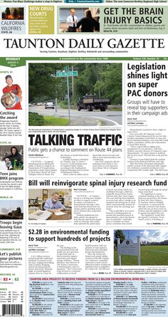 The front page of the Taunton Daily Gazette for Monday, Aug. 4, 2014.