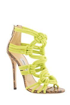 Jimmy Choo Neon Lemon Green Sandal Spring 2014 #Choos #Shoes #Heels