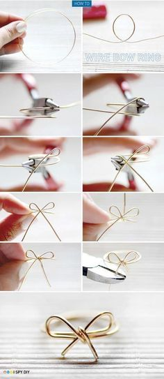 DIY: Wire bow ring; I'm loving all these different wire wrapped rings...helps improve your wire wrapping skills.