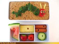 Very Hungry Caterpillar Bento Lunch #very #hungry #caterpillar #birthday #cake #party #decorate #buffet #book #baby #toddler #child #children #bento #food #lunch #meal