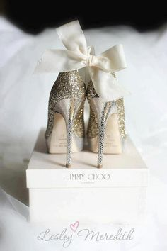 All wrapped up in a pretty bow ~ beautiful bridal shoe shot