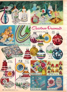 Ornaments in Sears Christmas Catalog, 1952