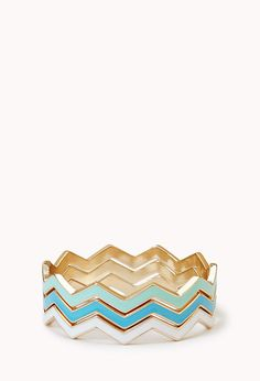 Zigzag Stackable Bangles | FOREVER21 Zigzag up your wrist! #Accessories #Bangles #Bracelet #Chevron #Mint