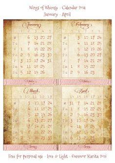 Wings of Whimsy: Victorian Paper Frame Calendar 2014 - free printable #vintage #ephemera