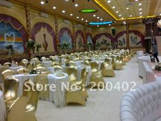 gold chair covers with white table cloths