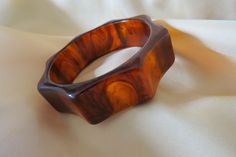 Vintage marbled root beer gear shape bakelite bangle bracelet ~ $249