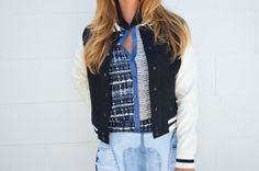 Sporty Starlet* styled by @Polishd4Pennies Varsity Jacket $16.99 @marshalls Blouse originally $145... #fabfound clearance $7.00!