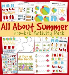 Download a FREE Summer Fun Pre-K/K Printable Pack.