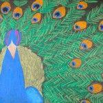 Peacock in oil pastels