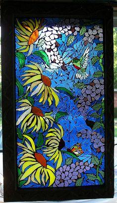 Hummingbird and Sunflowers mosaic on glass