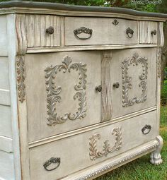 DIY Painted Furniture: Gorgeous Vintage Buffet Layered in Rich Colors - via Shizzle design