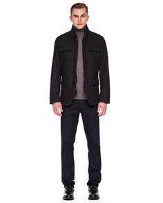 Michael Kors Striped Melton Blazer, Cashmere Turtleneck Sweater & Modern-Fit Stretch Jeans.