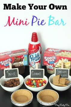 This is one of the best ideas from playpartypin.com I've seen, use pre-made graham cracker crust and Snack Packs to create a build your own mini pie bar #SnackPackSummer #paid snack pack, snack bar ideas, mini snacks, mini snack ideas, mini pies, mini pie bar, minie pie bar, kid parties, mini graham cracker crust