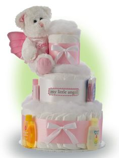 What do babies and angels have in common? They are sent from above. Our Little Angel diaper cake sends a sweet reminder their newborn is sent from Above. Only $67.00