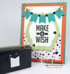 Make a Banner Birthday card with the free banner punch from Stampin' Up! 2014 Sale a Bration! www.PattyStamps.com