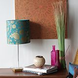 DIY stenciled lampshade project. How to use Royal Stencil Creme metallici paints with the Forest Floor Damask Stencil