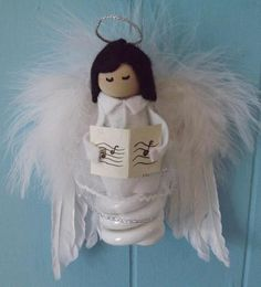 Recycled light bulb ornament [angel] $12.00 +S