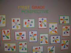 grade class, school, perspect color, one point perspective, color wheels, art perspect, artproject idea, classroom art, first grade