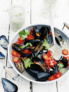 Spicy Tomato Mussels with Coconut Sambal by donnahay #Mussels #Tomato #Coconut
