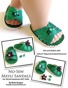 "No-Sew Mayli Sandals 18"" Doll Shoes"