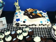 The Baby shower theme was Rock Star Baby combined with their Nursery theme(Monkey / Rock Star)