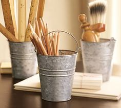 Galvanized Metal Pail, Set of 3 #potterybarn