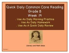 Grade 8 Daily Common Core Reading Practice Week 19 {LMI} A-  Historical fiction and literature passages are both included.