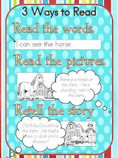 3 ways to read free poster to print...Mrs. Miner's Kindergarten Monkey Business: Daily 5 Freebie#