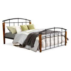 Wood Queen Size Platform Bed Queen Dark Walnut Baxton Studio