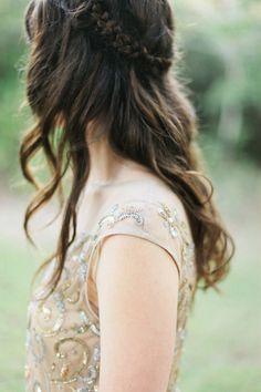 wavy wedding hair with a braid, photo by Morgan Trinker http://ruffledblog.com/handcrafted-alabama-wedding #weddinghair #bridal