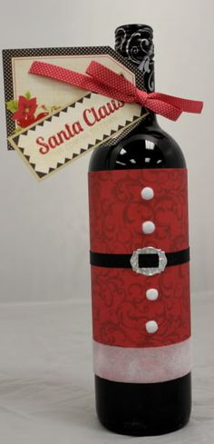 Santa Suit ~ dress up a wine bottle for a Holiday gift