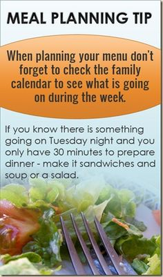 MEAL PLANNING TIP 6: SCHEDULE IT!