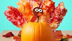 Don't ditch your Halloween pumpkins yet. Decorate a pumpkin turkey to last through Thanksgiving!