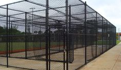 Vinyl coated chain link fence is excellent for batting cages at sports fields in parks, as well as school and university campuses.