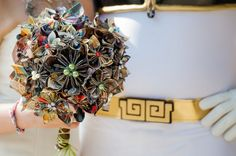 Origami comic book wedding bouquet.
