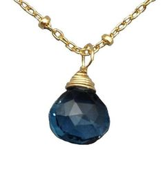 Tear Drop Stone Necklace- London Blue Topaz by Sonya Rene