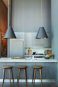 interior, blue, color, brooklyn apartment, small kitchens, stool, grey kitchens, light, gold accents