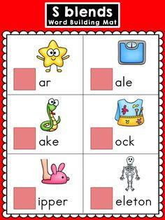 S Blends Word Building Mats >> Color and Blackline versions >> Part of the S Blends Word Work Mega Bundle