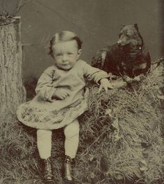Vintage Tintype - Toddler with Miniature Pinscher